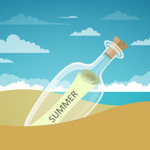 Vector Illustration of a Message in a Bottle