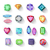 Flat style long shadow colored gems jewelry icons isolated on white background vector illustration