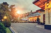 The Grand hotel evening in the light of the setting sun that was built in the style of an Elizabethan era manor house in Nuwara Eliya, Sri Lanka