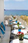 Beautiful cafeteria at the beach, on Mykonos island, Greece