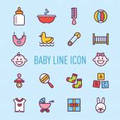 Set of cute baby icons vector illustration