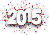 Happy 2015 new year with confetti Vector paper illustration