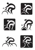 Set of  black icons of spinning  and cycling  Vector illustration