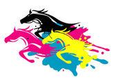 Tre cavalli in esecuzione come splatters negli inchiostri da stampa. Concetto per la presentazione della stampa a colori... Vettore disponibile