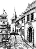 Old peaceful city drawing restaurant terrace sketch