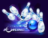 Bowling game blue bowling ball crashing into the pins