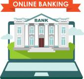Online banking concept with laptop and bank building