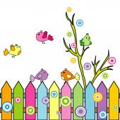 Kártya cartoon madarak a kerítés