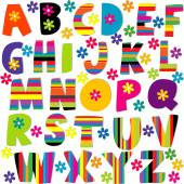 Happy alphabet set with flowers and stripes patterned letters