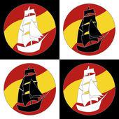 Vintage hajó logó vitorlás