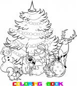 The illustration shows the snowman and Santa Claus who reads the list of holiday gifts for animals on the background of Christmas tree Illustration done on separate layers in black and white contour
