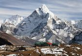 View of mount Ama Dablam and mountain view lodge