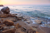 Sunrise landscape,  the rocky sea coast and water waves