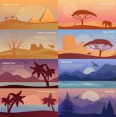 African desert landscape with elephant and giraffe egypt pyramids with camel caravan or convoy with bedouin wildlife with pines and mountain at dawn sandy beach with palms at summer sunset