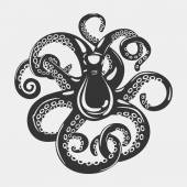 Cartoon black octopus with curved arms and suction cups on it feeding tentacle Spineless squid or underwater cuttlefish scary mollusk and swimming cephalopod For mascot or emblem tattoo theme
