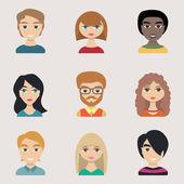 Lidé ikony, peolple avatary, ploché styl