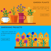 Flower shop Hello spring and summer Vector flat illustrations icons and sprites for game Banner for garden work and gardening projects
