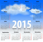 Calendar for 2015 year in Spanish with clouds in the blue sky Mondays first Vector illustration