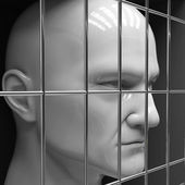Man behind bars in jail. Restriction of freedom