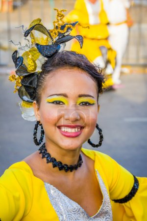 Постер, плакат: Performers with colorful and elaborate costumes participate in Colombias most important folklore celebration the Carnival of Barranquilla Colombia, холст на подрамнике