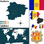 Vector map of Andorra with regions coat of arms and location on world map