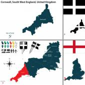 Vector map of Cornwall in South West England United Kingdom with regions and flags