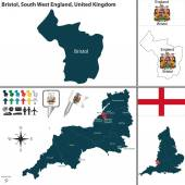 Vector map of Bristol in South West England United Kingdom with regions and flags