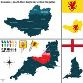 Vector map of Somerset in South West England United Kingdom with regions and flags
