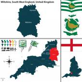 Vector map of Wiltshire in South West England United Kingdom with regions and flags