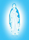 Saint Virgin Mary on a blue background