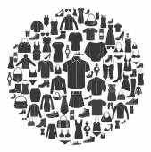 Set of Womens and Mens Clothing icons. Accessories.