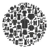 Set of Women's and Men's Clothing icons Accessories
