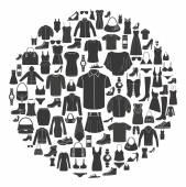 Sada dámské a pánské oblečení ikon. Příslušenství