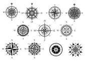 Nautica rosa dei venti e set di icone bussola