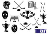 Ice hockey emblem and logo design elements with hockey pucks masks helmet crossed sticks gates and trophy cups decorated laurel wreath