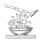 Cooking salad with fresh vegetables sketch