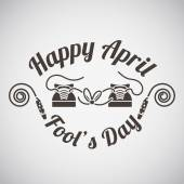 April fool's day emblem with knoted shoelace on sneakers mask Vector illustration