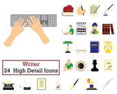 Set of 24 Writer Icons Flat color design Vector illustration