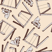 Swing and rollers seamless doodle pattern illustration without transparency