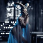 Постер, плакат: Woman with goat body art