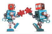Retro roboti montáž kousky skládačky. Izolovaný. Obsahuje ořezovou cestu