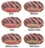 Různé typy hovězí steaky izolovaných na bílém pozadí