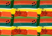 Abstract green red and yellow stripes and black marksHand drawn with paint brush seamless backgroundModern hipster style design