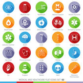 Medical and Health Care Long Shadow Flat Icons Set 02