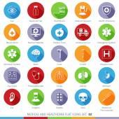 Assistenza medica e sanitaria lunga ombra icone piane 02