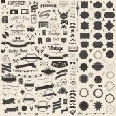 Huge set of vintage styled design hipster icons. Vector signs and symbols templates for your design.The largest set of bicycle, phone, gadgets, sunglasses, mustache, anchor, ribbons infographcs element and other things.
