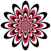 Infinite flower optical illusion design in red black and white Vector: Colors are grouped for easy editing