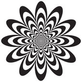 Infinite flower optical illusion design in black and white Vector: Colors are grouped for easy editing
