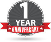 Celebrating 1 year anniversary retro label with red ribbon vector illustration