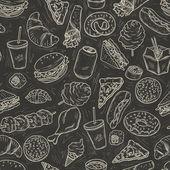 Seamless pattern with lot of fast food on blackboard